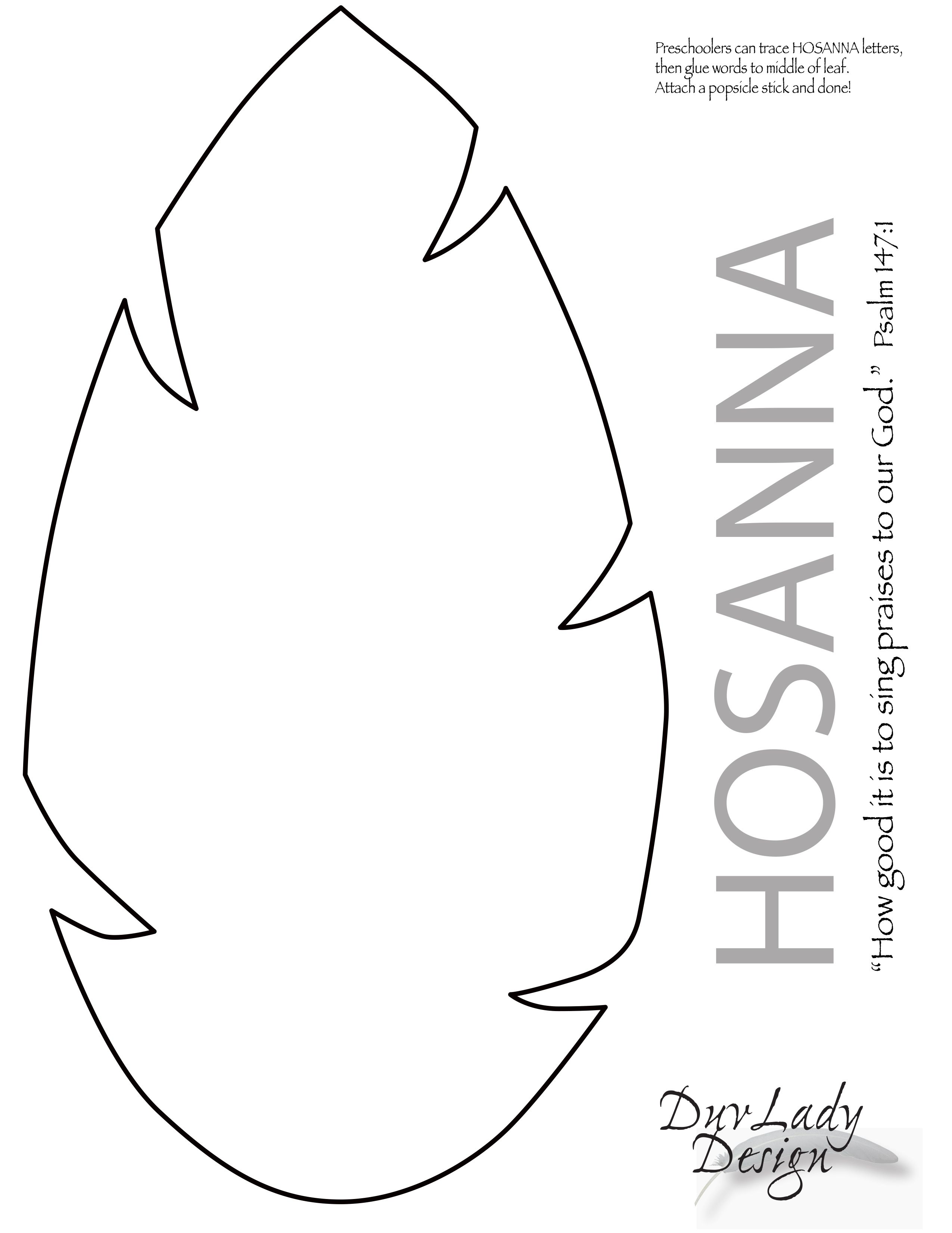 Easter Hosanna Leaf for children template. Attach to popsicle stick. Print  out on green