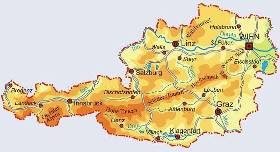 Mapa Rakouska Rakousko Mapa