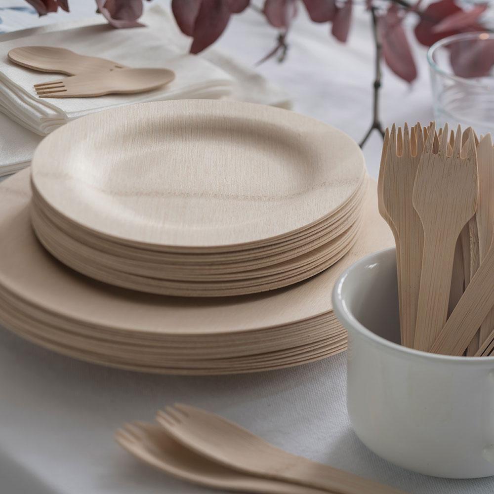Veneerware Disposable Bamboo Round Plates Bamboo Plates Plates