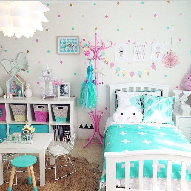 Want the look of wallpaper on a budget and totally removable check out the awesome job - Awesome girls bedroom ...