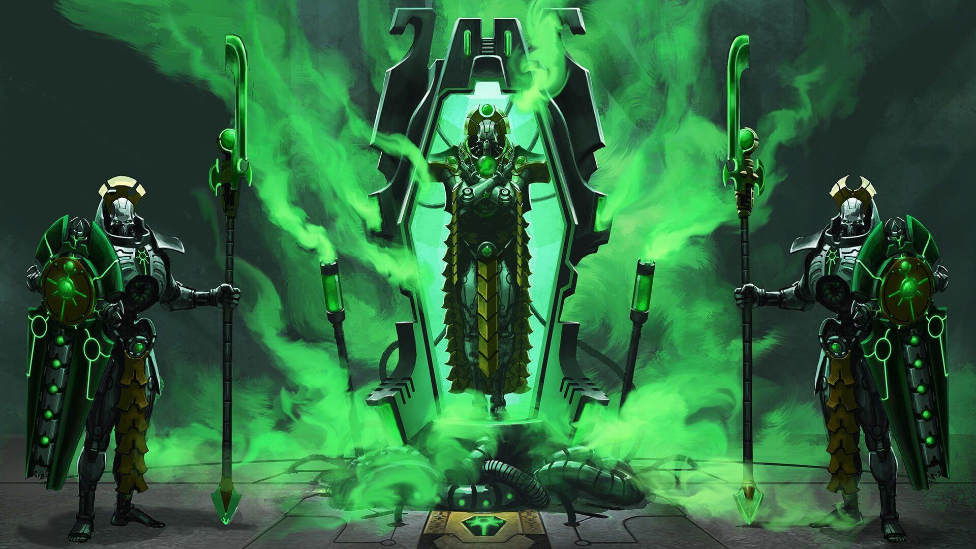 Necrons Guards Awakening Warhammer Necrons Lord Nekron Necron Lord Warhammer 40 000 Lich Guard 1080p Wallpaper H Warhammer 40k Necrons Necron Warhammer
