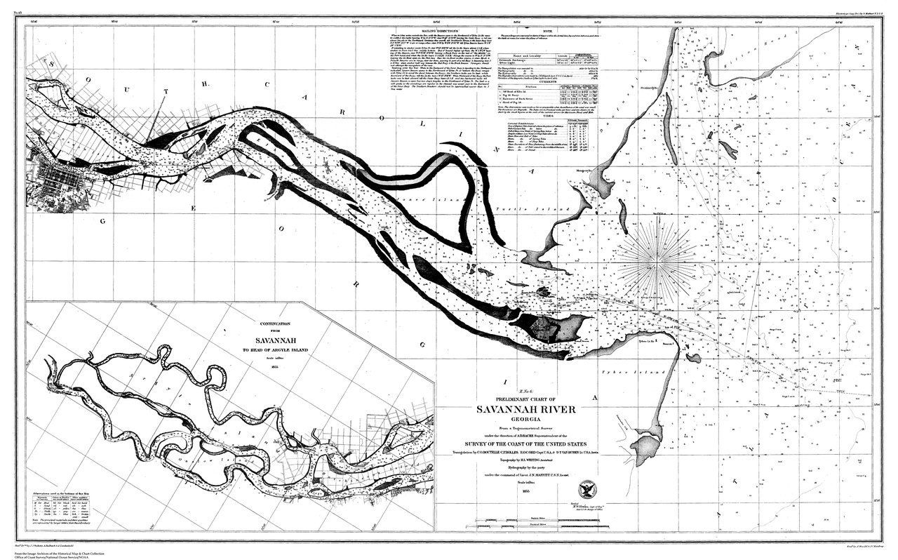 18 X 24 Inch 1855 Us Old Nautical Map Drawing Chart Of Nautical - Savannah-on-us-map