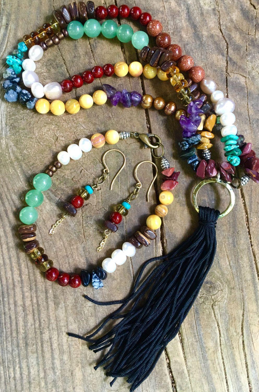 Trio jewelry set tassel necklace multi stone necklace bracelet