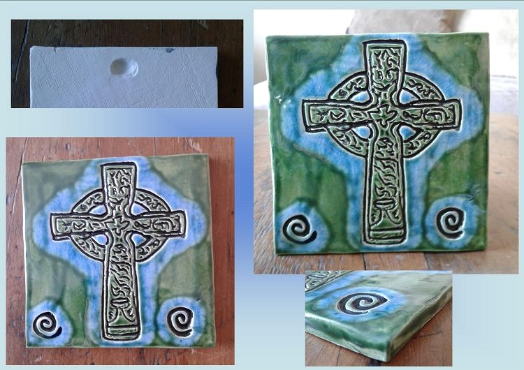 Celtic Cross Tile Turquoise Green Ceramic Decorative Irish Tile
