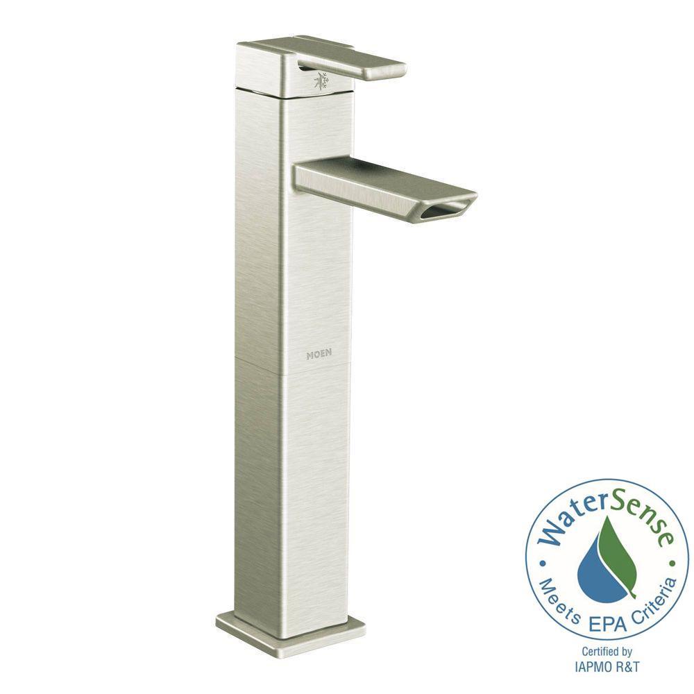 MOEN 90 Degree Single Hole Single-Handle Vessel Bathroom Faucet in ...