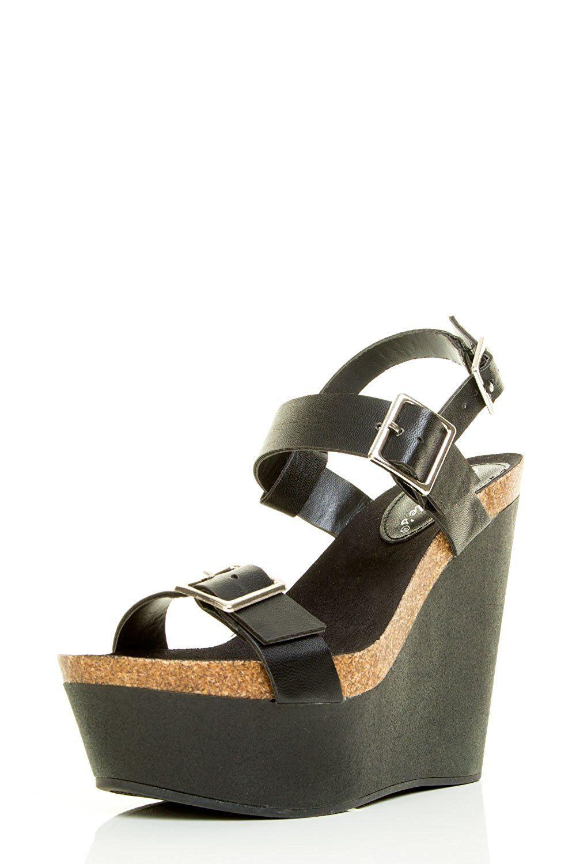02522e8923d4 Breckelle s Womens Open Toe Buckle Strap Slingback Wedge Heel Platform  Sandal    Click image for more details.