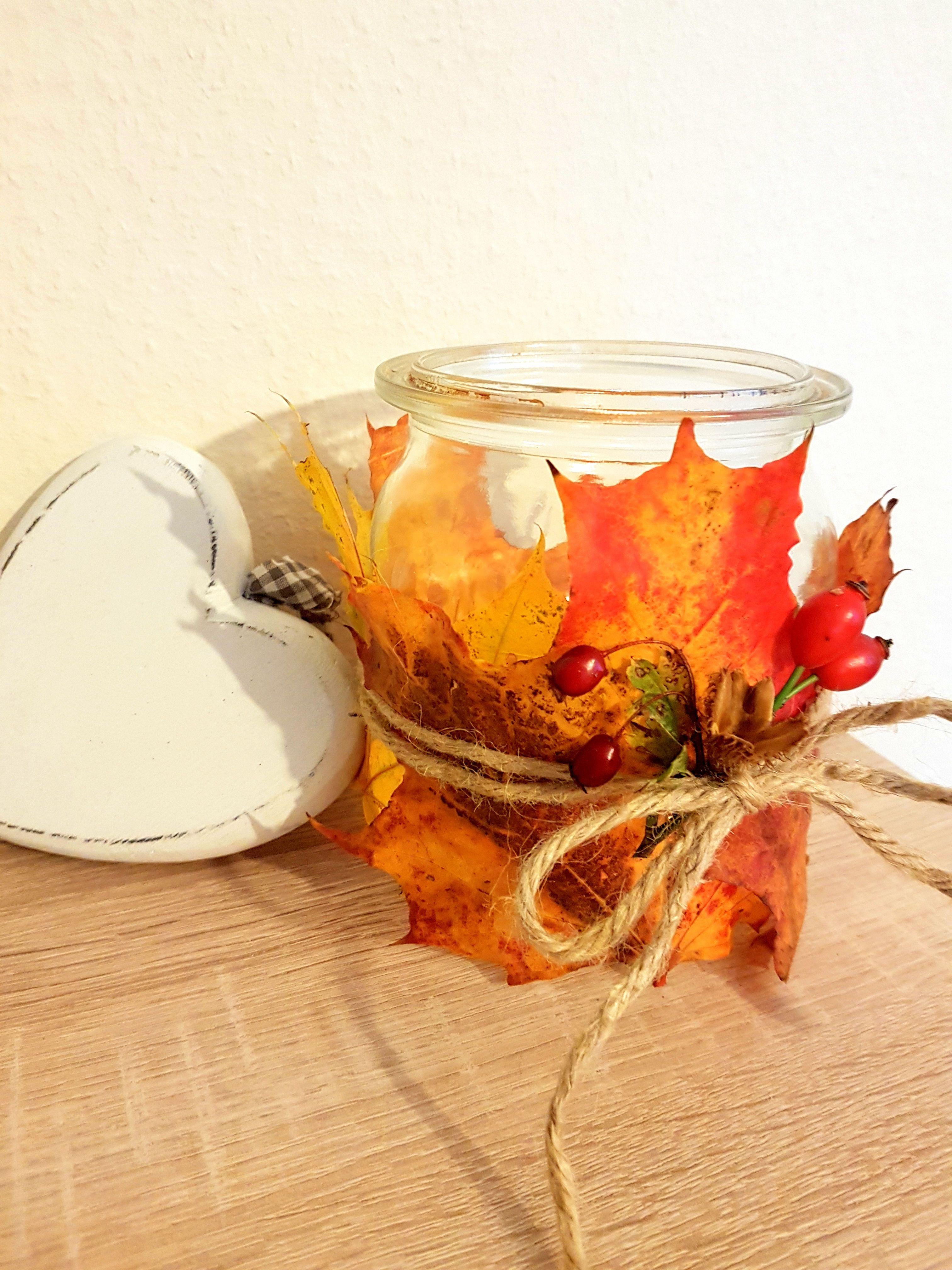 DIY Herbstdeko: Herbst Windlicht EinmachglasWeckglas mit