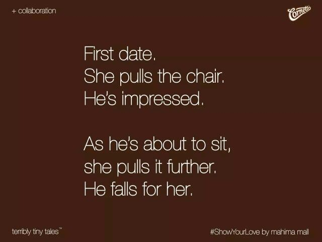 She pulls the chair. #Pretty #Short #Stories