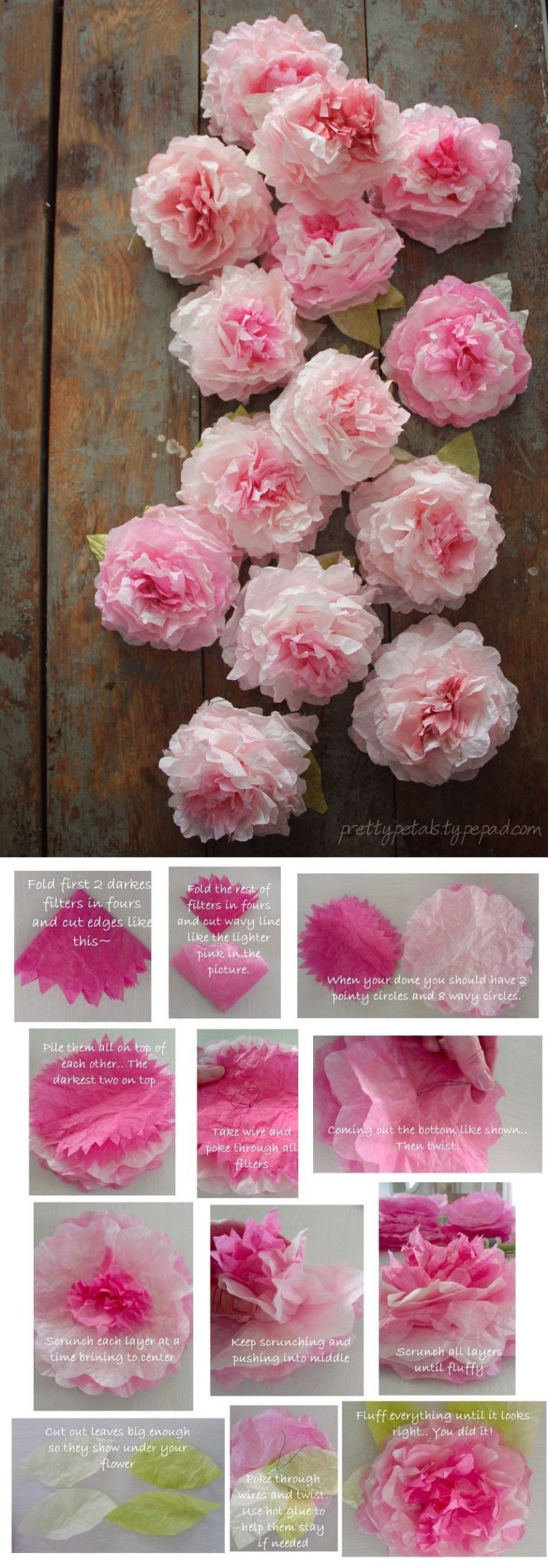 peony coffee filter flowers tutorial 16 flower power diy home decor projects gleamitup. Black Bedroom Furniture Sets. Home Design Ideas