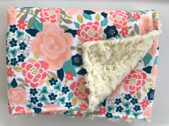 Floral Coral Pink Navy Blanket