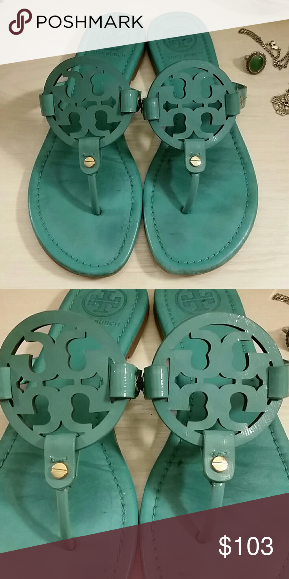 3db0eed511 Tiffany Blue Miller Leather Sandals by Tory Burch -----PRICE FIRM ...
