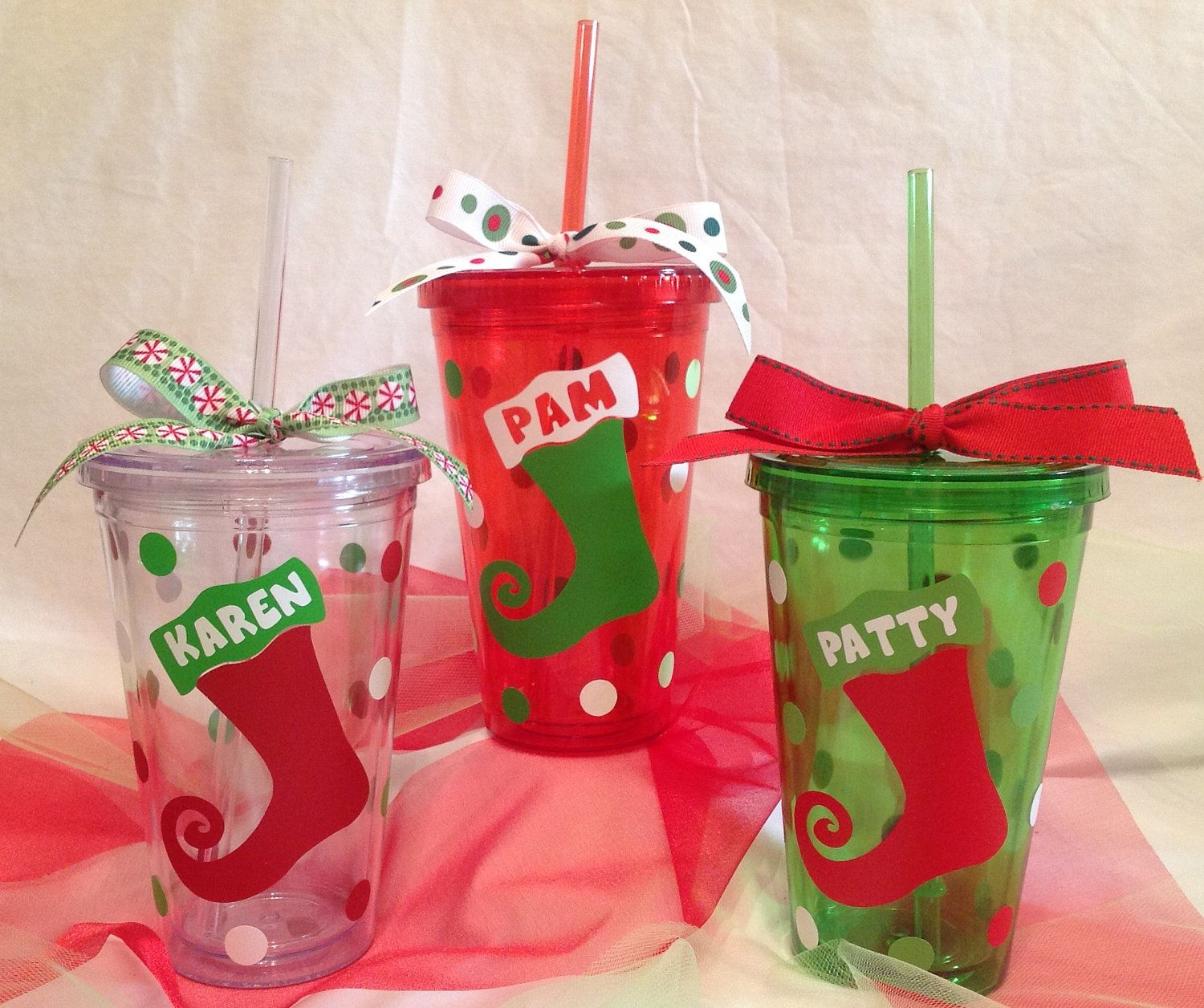 Christmas Tree Made Of Plastic Cups: Personalized Acrylic CHRISTMAS TUMBLER With STOCKING Red