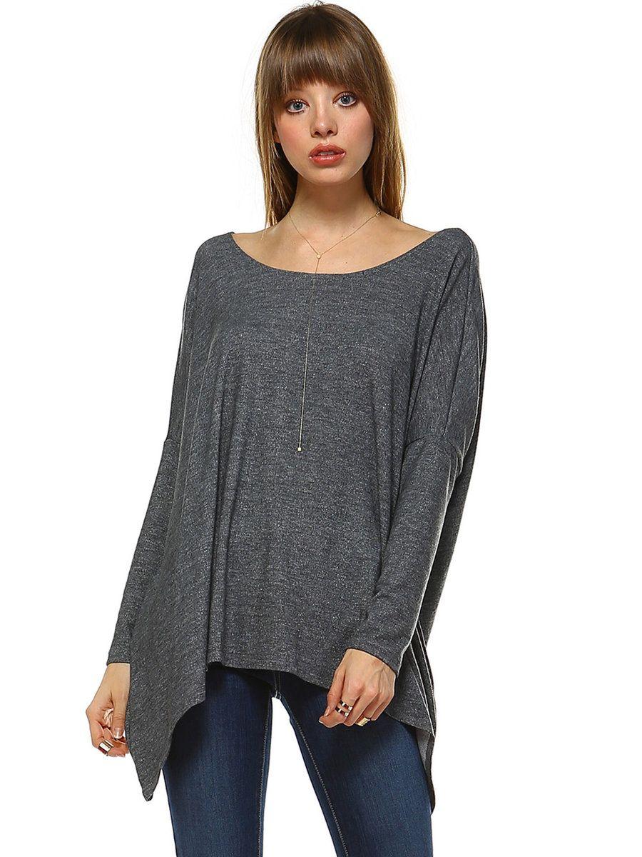 #AdoreWe Oh! So Cali Clothing Deep Gray Batwing Asymmetrical Tunic - AdoreWe.com