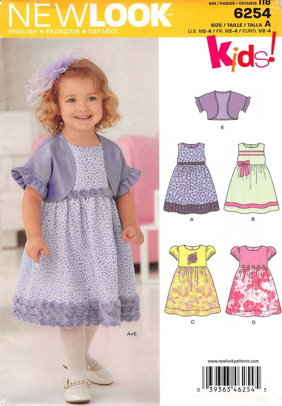 Girls Size 1/2 1 2 3 4 Toddlers Dress; New Look 6254 Kids!; Girls ...