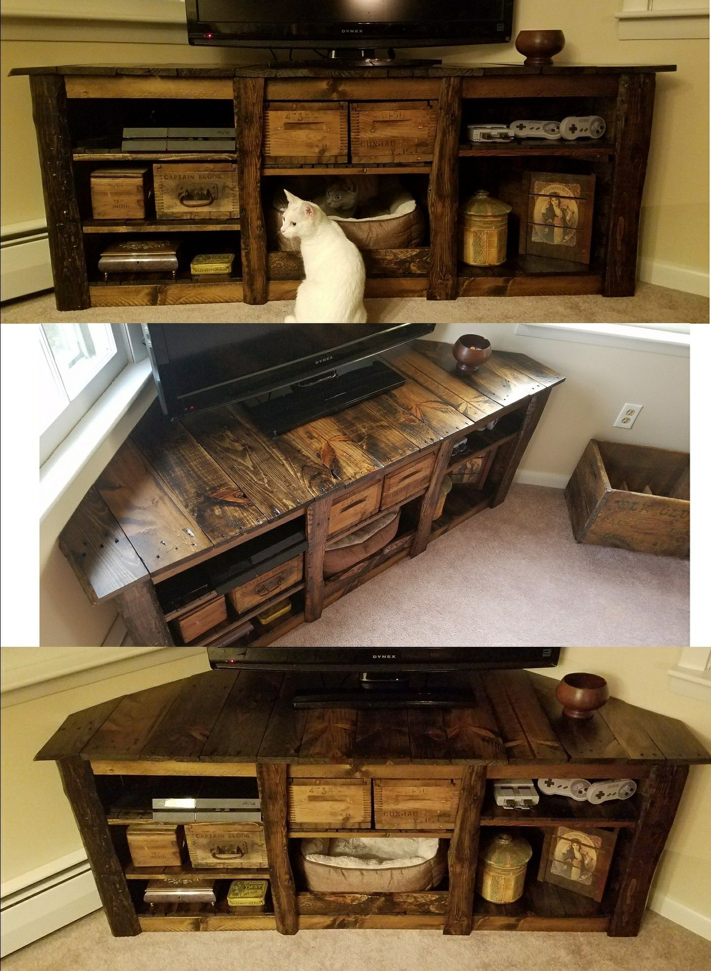 Kitty Cornered Entertainment Center Made From Old Pallets Stained With Dark Walnut Sealed Matte Polycrylic