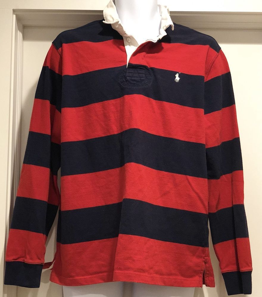 9a2b855ee Vintage Ralph Lauren Blue Red striped White collar Rugby Polo Shirt Sz  Large L  PoloRalphLauren  PoloRugby