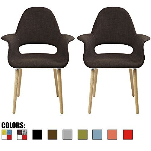 2xhome  Set of Two 2  Brown  Upholstered Organic Arm Chair Armchair Fabric Chair Brown with Light brown Natural Wood Leg Dining Room Chair With arm Modern * Details can be found by clicking on the image.Note:It is affiliate link to Amazon.
