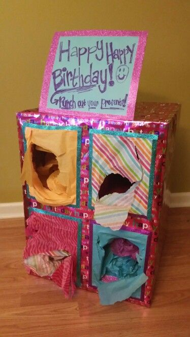 PUNCH OUT PRESENTS Birthday Box! She loved it. I made my brother one for Christmas too. He liked it so much kept it.