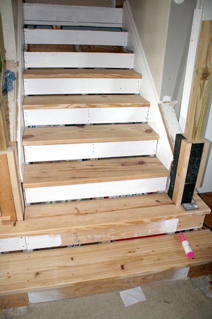 Remodelaholic Filling The Gaps Stair Remodel Stair Remodel   Stairs Covered In Wood   Simple   Wood Paneling   Glass   Rustic   White