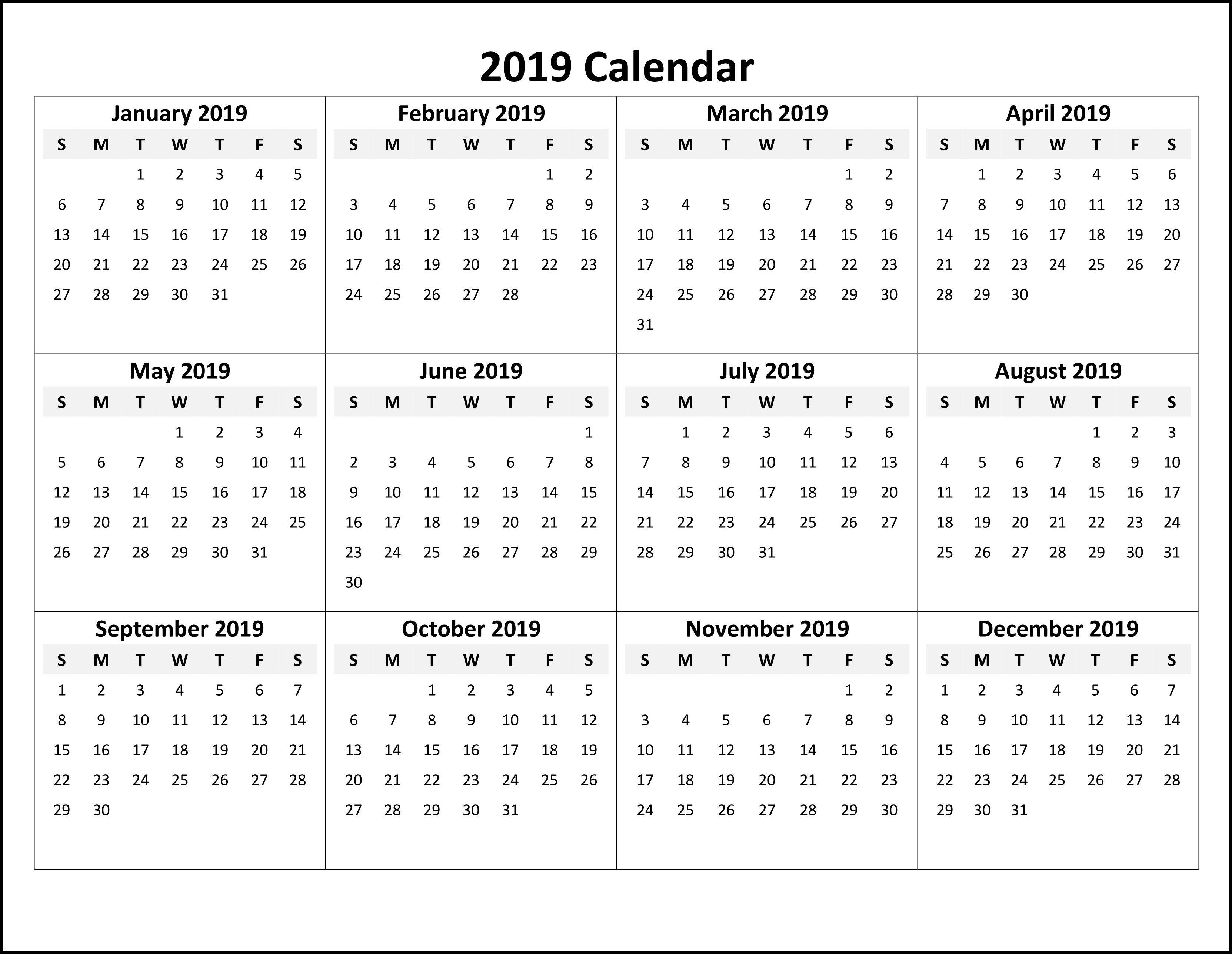 Online Calendar Template 2019 Online Printable Calendar 2019 #calendar2019