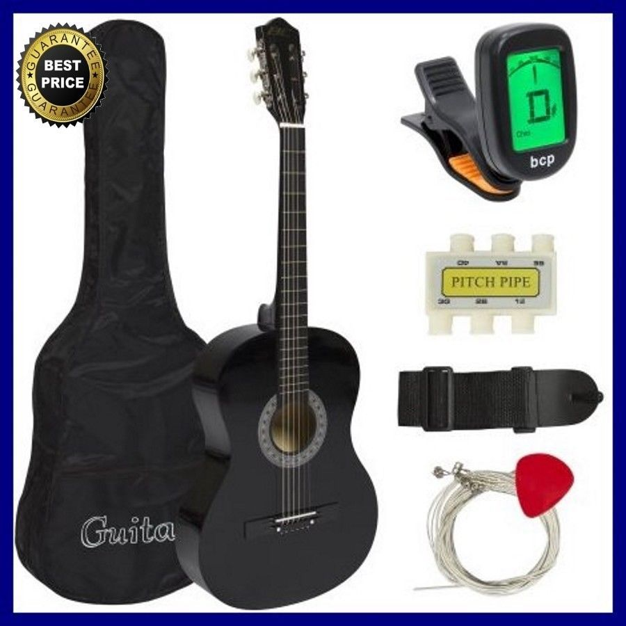 Beginners Acoustic Guitar With Case Strap Tuner Pick Steel Strings 38 Black Bestchoiceproducts Acoustic Guitar For Sale Guitar Tuners Guitars For Sale