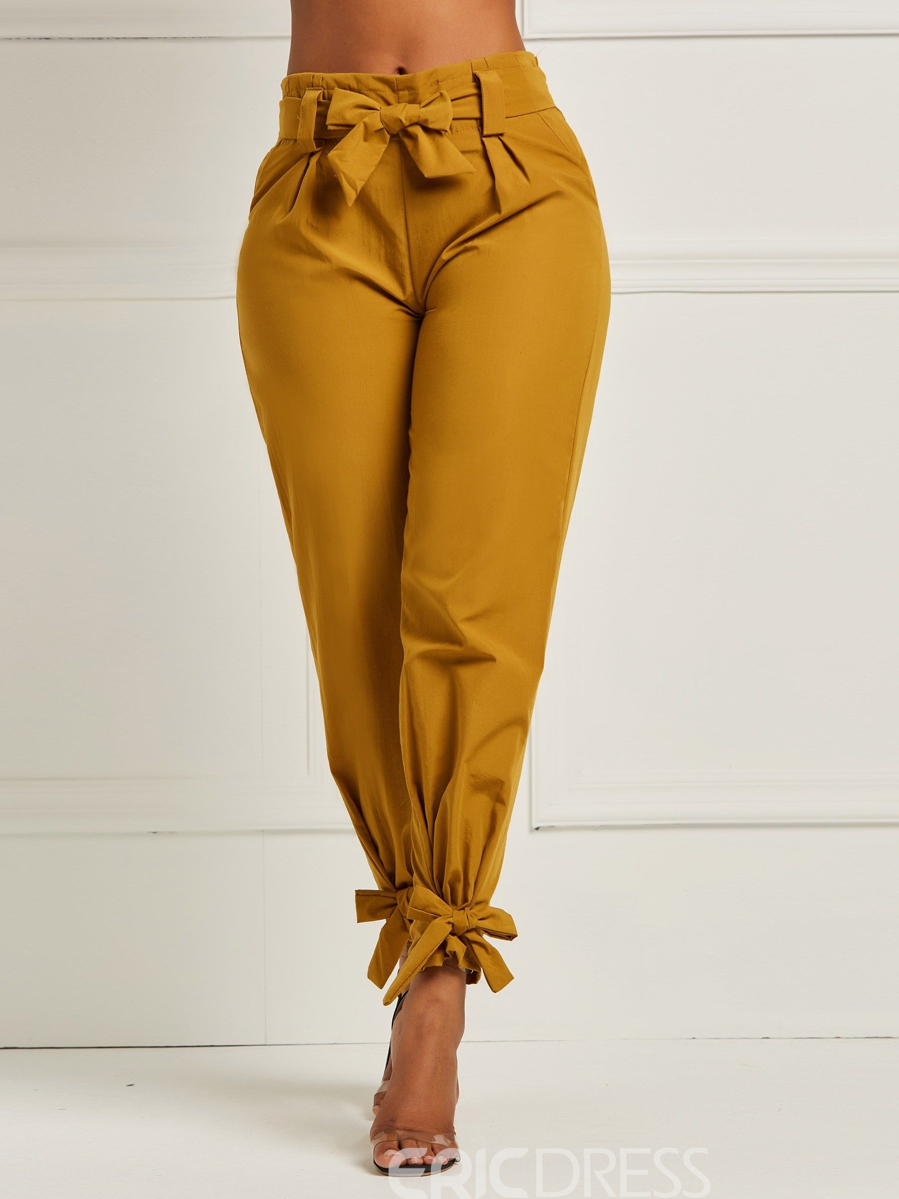 002a68793c5 Ericdress Bowknot Plain Women s Pencil Pants