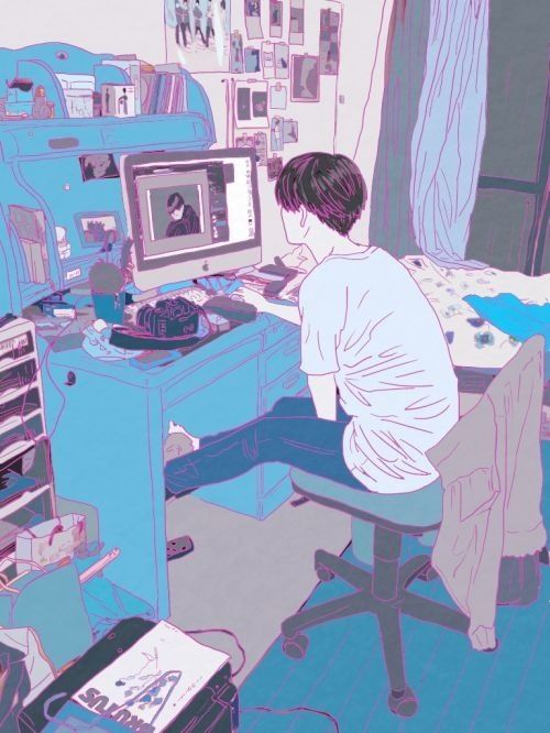 Anime Boy And His Computer Aesthetic Anime Drawings Illustration