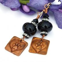 Unique artisan created dog love rescue handmade earrings with copper and lampwork..