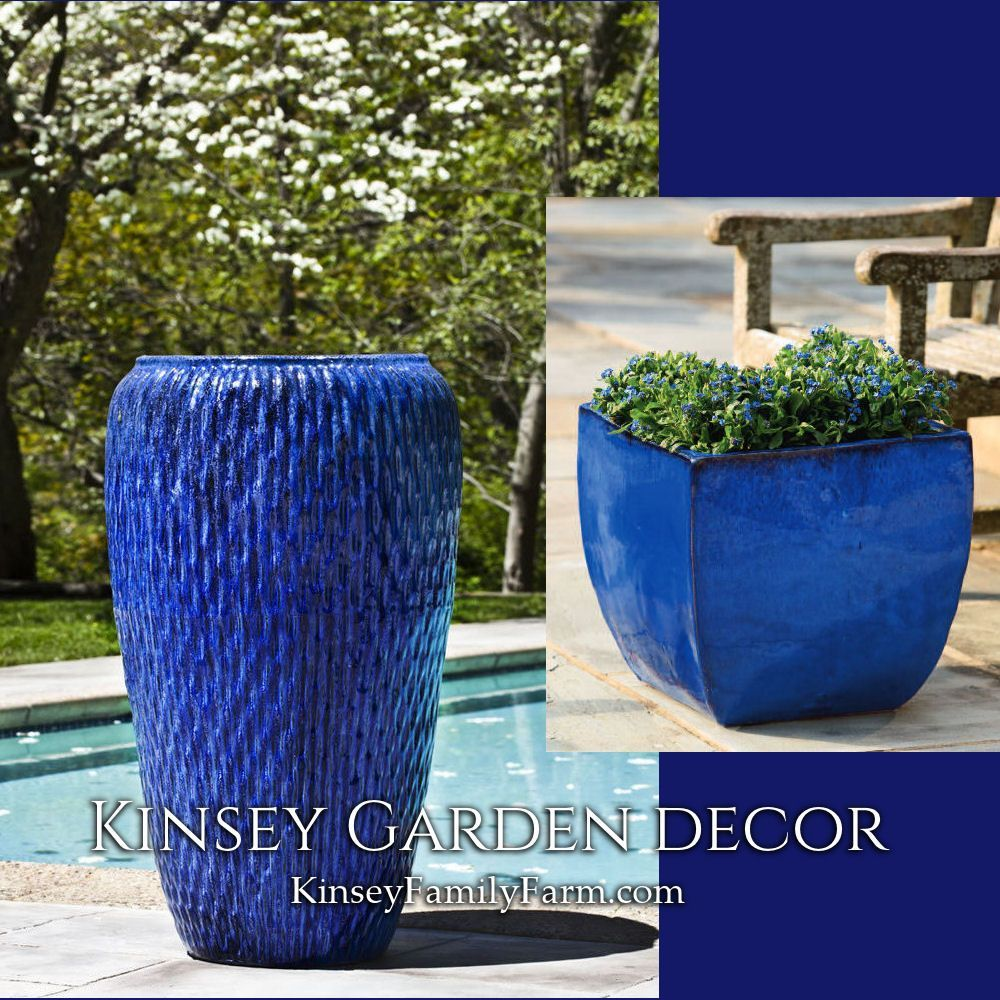 Kinsey Garden Decor Royal Blue Extra Tall Pottery Planters Indoor Outdoor Ceramic For Container Gard Large Indoor Planters Container Gardening Pottery Planters
