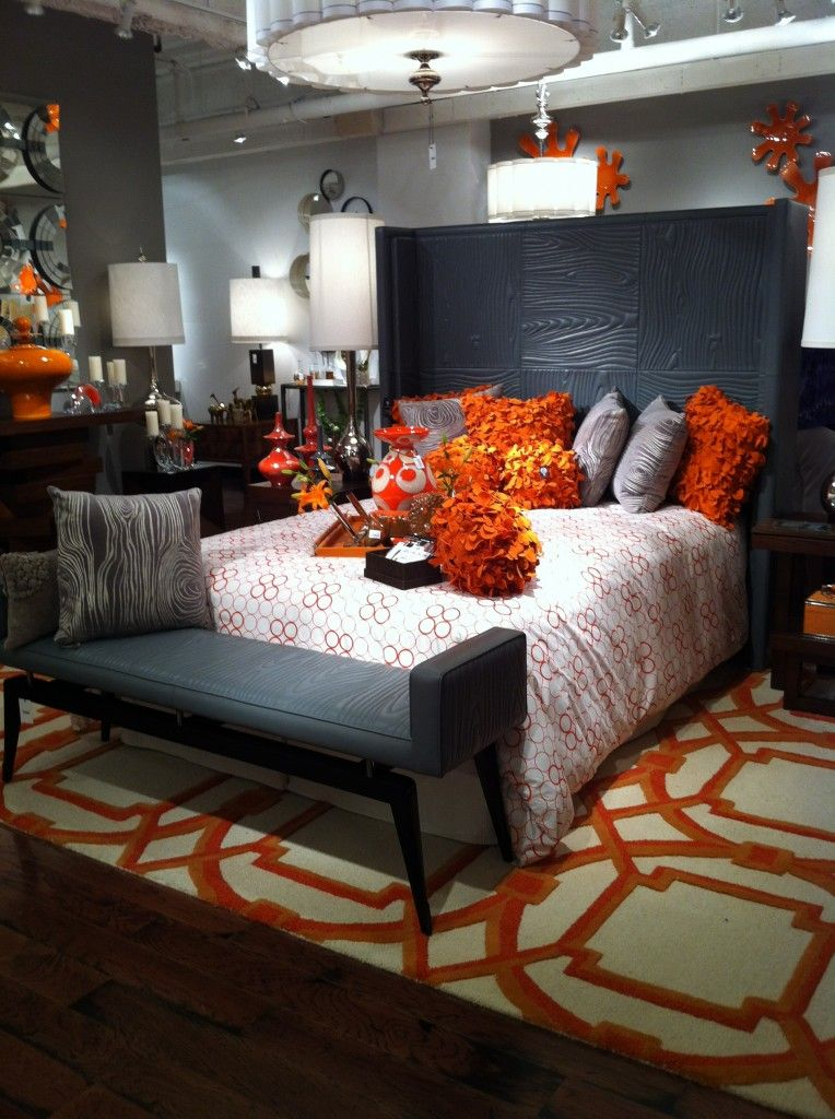 Orange And Grey Trending Color Scheme Living Room