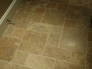 Time Worn Travertine Floors In A Versailles Pattern Like Varied Tile Color And Grout