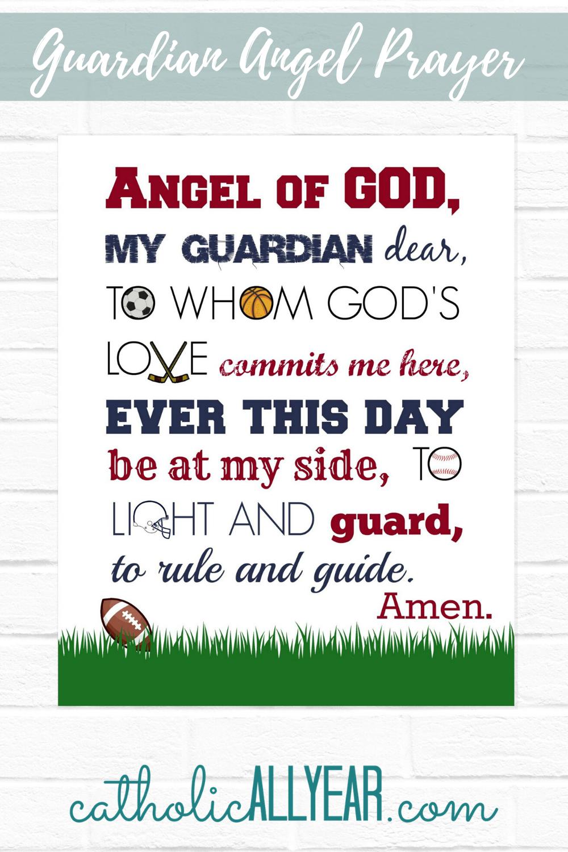 Sports Guardian Angel Prayer Digital Download Copy Catholic All Year Guardian Angels Prayer Angel Prayers Catholic All Year