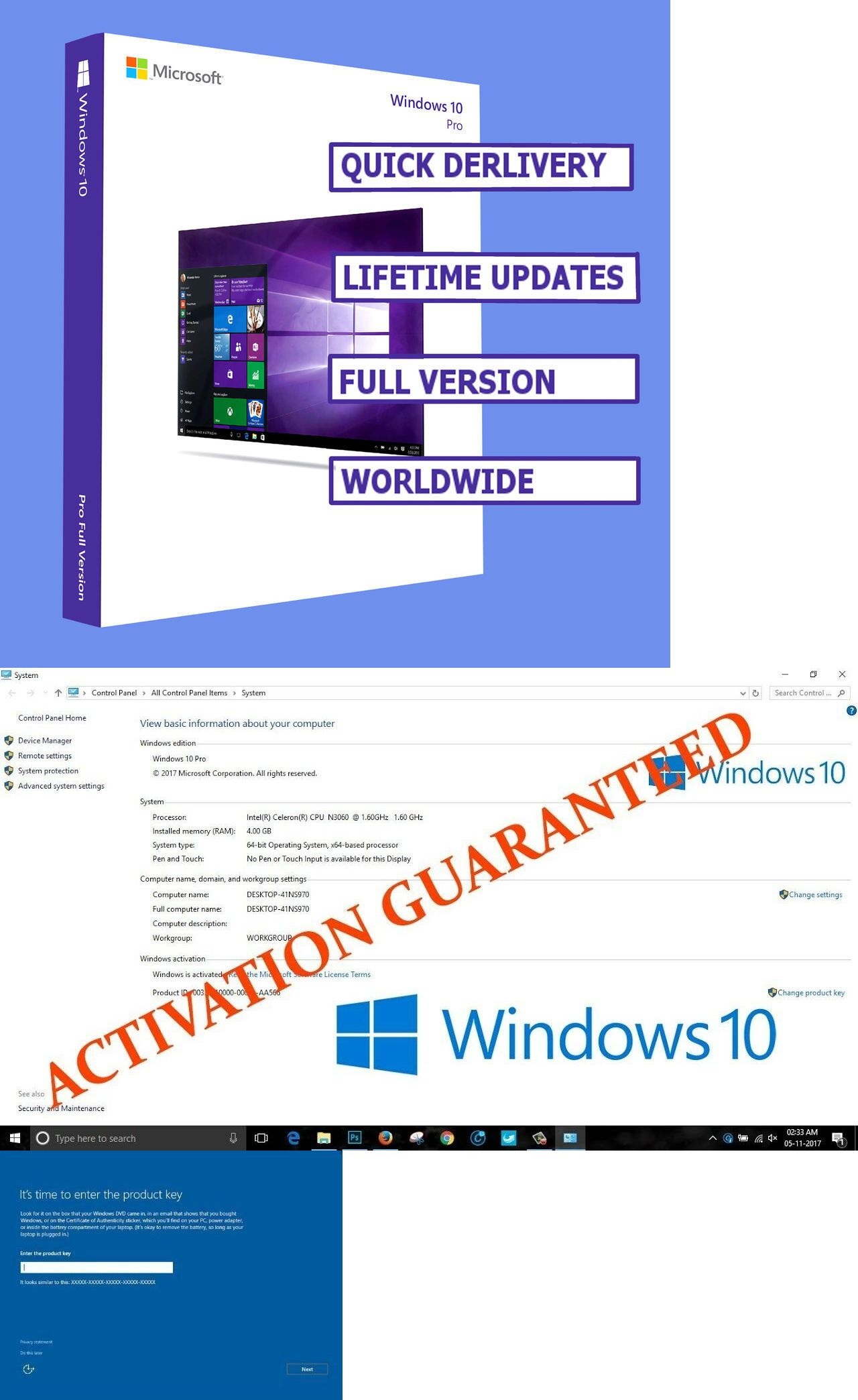 Operating Systems 11226: Windows 10 Professional Pro Key 32