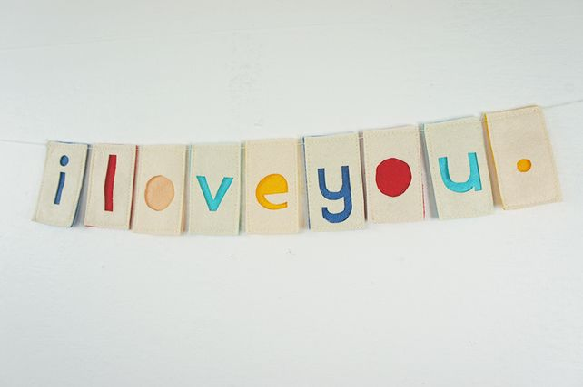 I Love You. Full Stop. Handmade Mini Bunting by Connie Clementine.