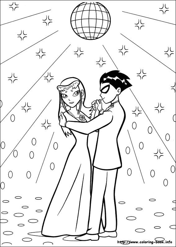 Robin and starfire teen titans coloring picture