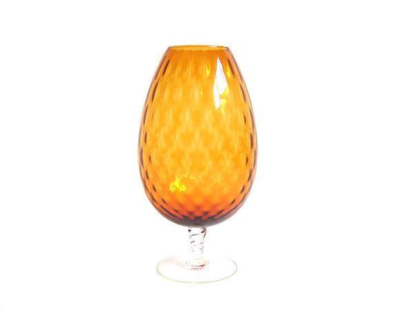 Vintage Amber Glass Vase Large Brandy Snifter By Stonesoupology