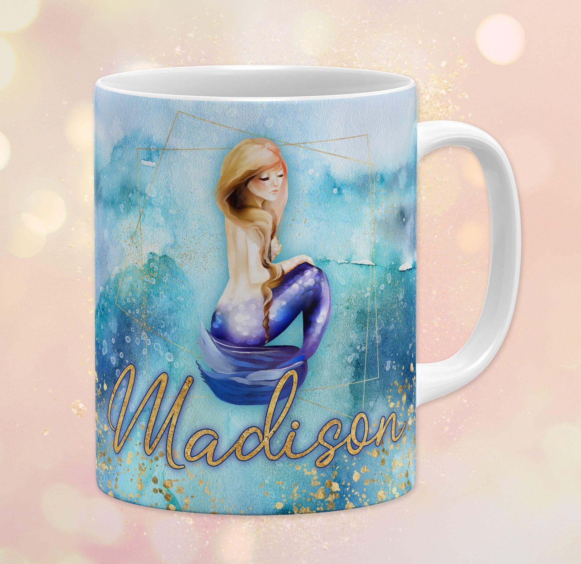 Personalized Mermaid 11 Oz Ceramic Coffee Mug Watercolor Waves