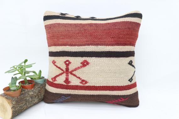 Turkish Kilim Pillow, 14x14 Nomadic Pillow, Patterned Pillow,Small Throw Pillows,Cushion Cover, Red