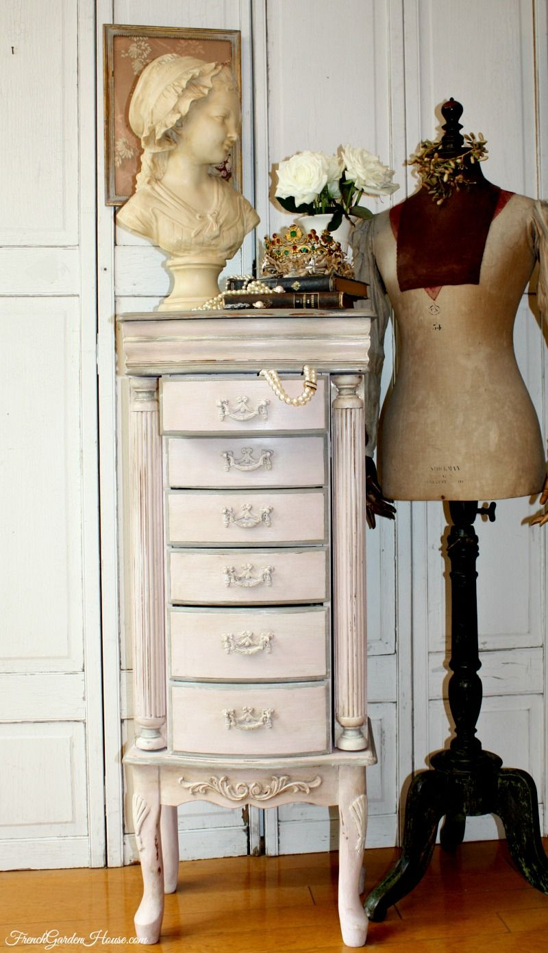 Vintage Luxury Pink Faux Painted Jewelry Armoire MANNI Pinterest