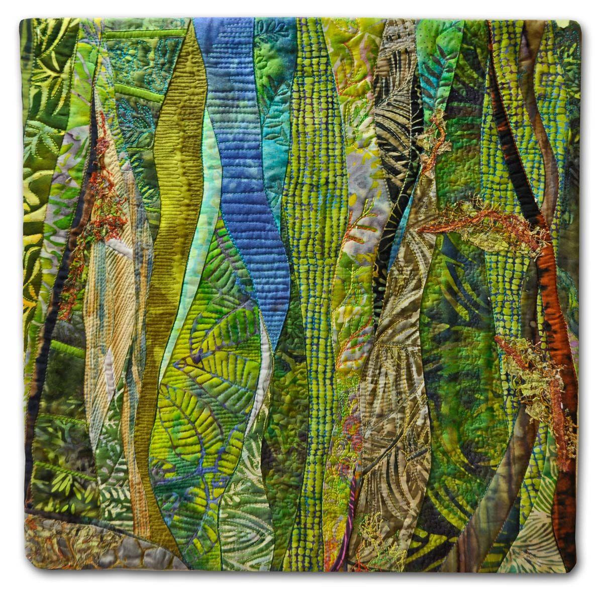 "Hilde Morin – Fiber art – SUMMER 15 W"" x 15″ H Curved piecing commercial fabrics…"