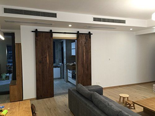 10ft Bent Straight Rustic Black Double Sliding Barn Door Hardware 10ft Track Kit Amazon Double Sliding Barn Doors Rustic Black Sliding Barn Door Hardware