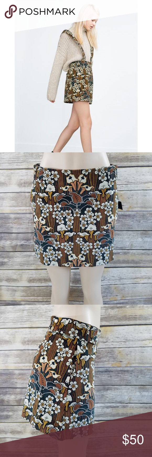 cb7954dac4 Zara Velvet Ribbed Vintage Floral Print Mini Skirt Corduroy Velvet Ribbed  Floral Print skirt. Mini Skirt. Wide braces. Patterned fabric from 60's or  70's ...