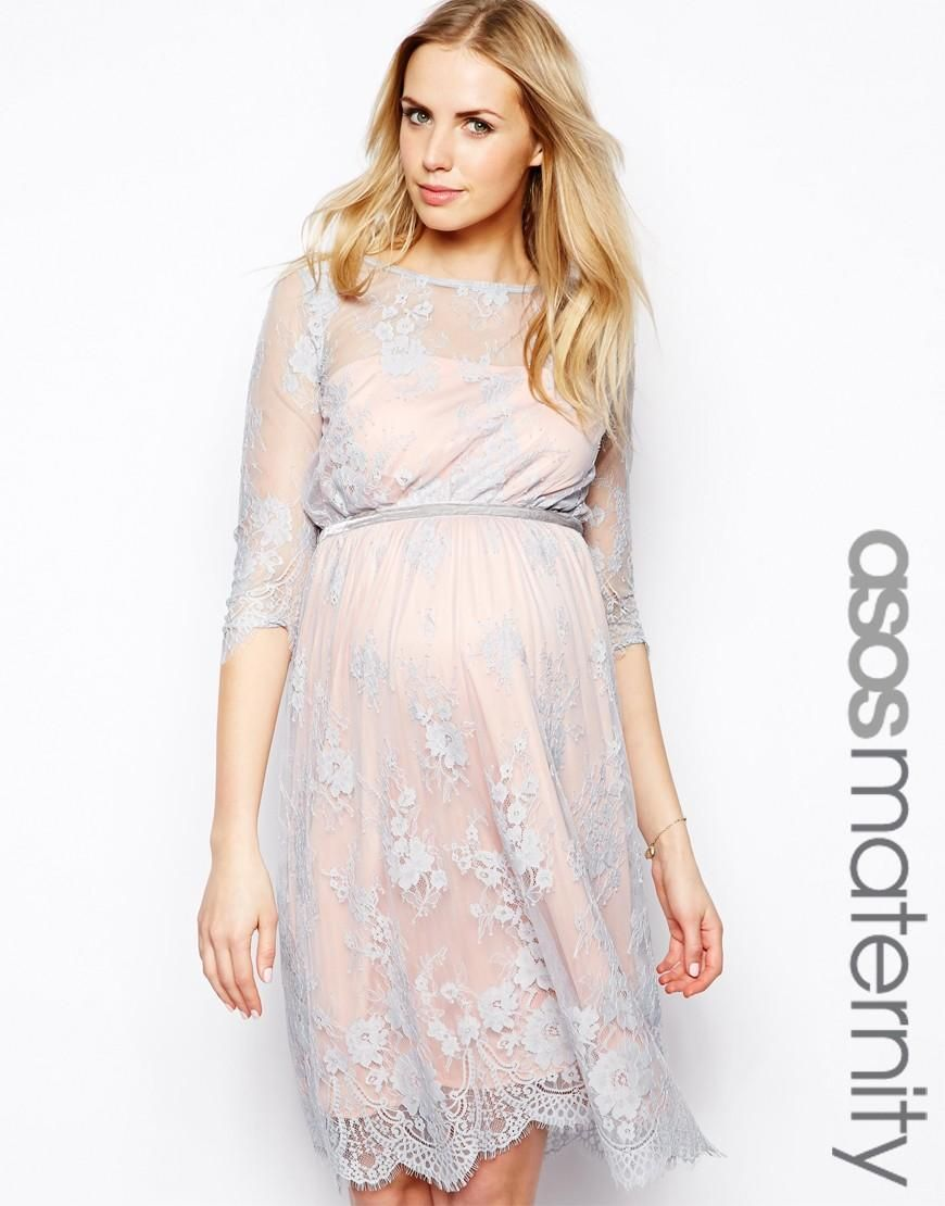 Lace dress for pregnant  ASOS Maternity  ASOS Maternity Lace Midi Dress With Scalloped Det