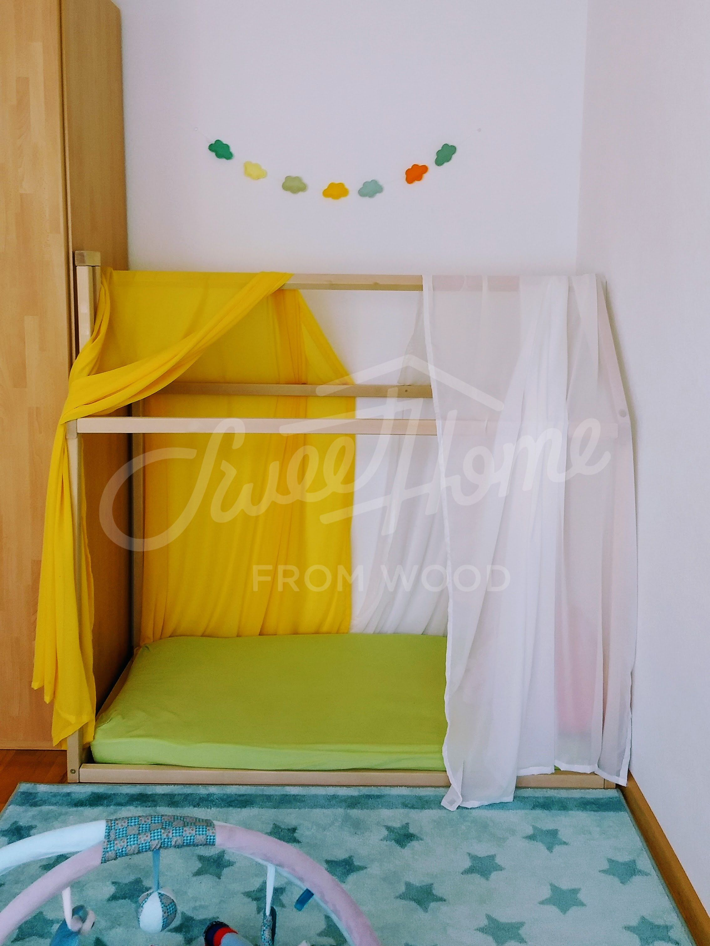 Toddler Bed House Shaped Bed Loft Bed Nursery Wood House Bed Home Montessori Toy Frame Bed Original Bed Home Bed Developing Toy Slats Kids Room Accessories Kids Bed Frames House Frame