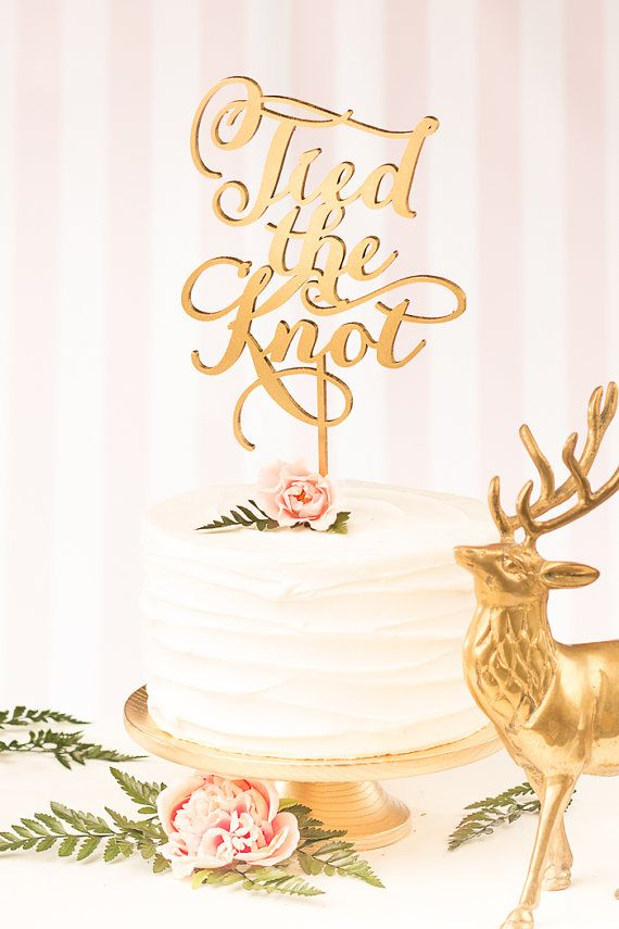 Wedding Cake Topper  Tied the Knot  Soirée by BetterOffWed on Etsy