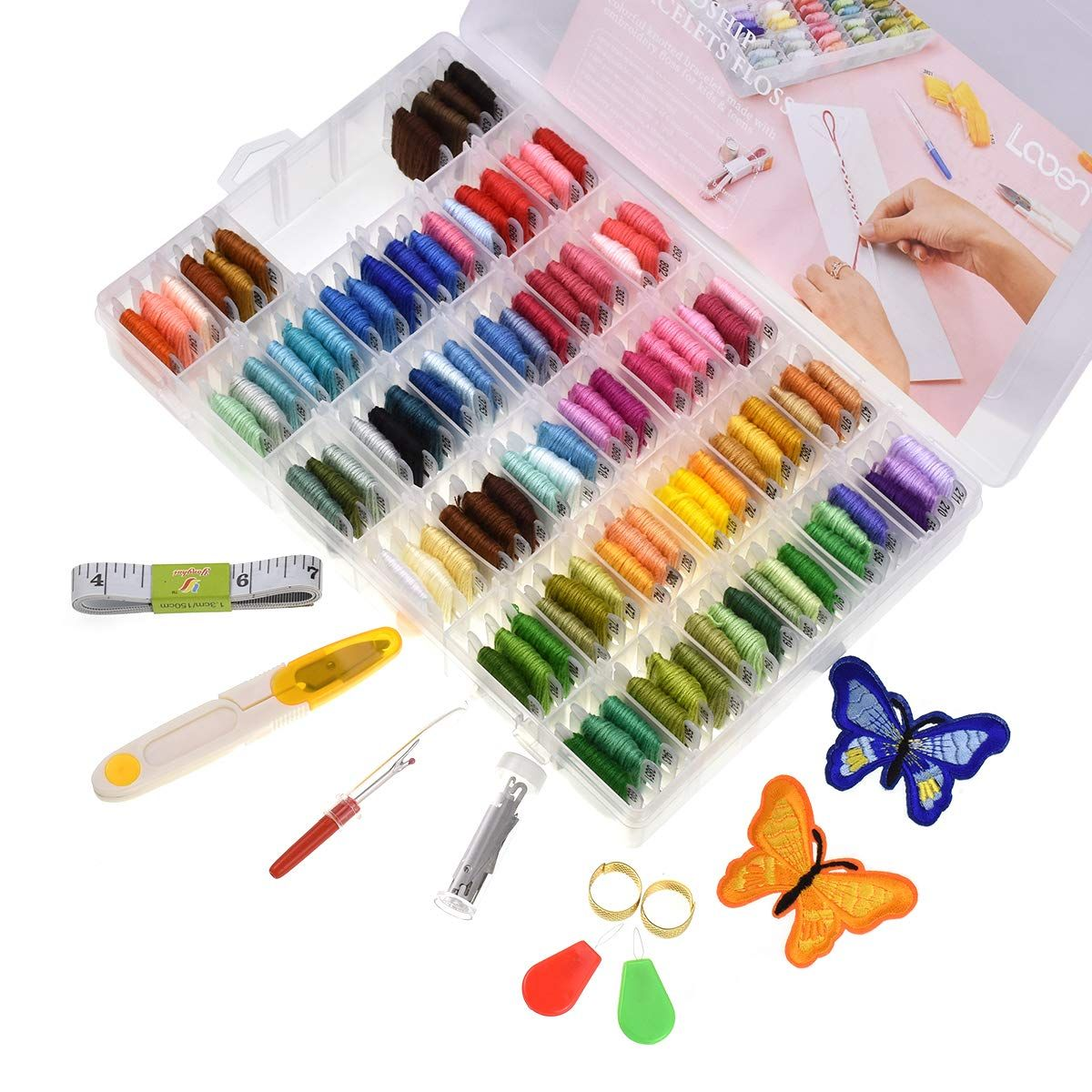Looen 100 Colors Embroidery Floss With Organizer Storage Box