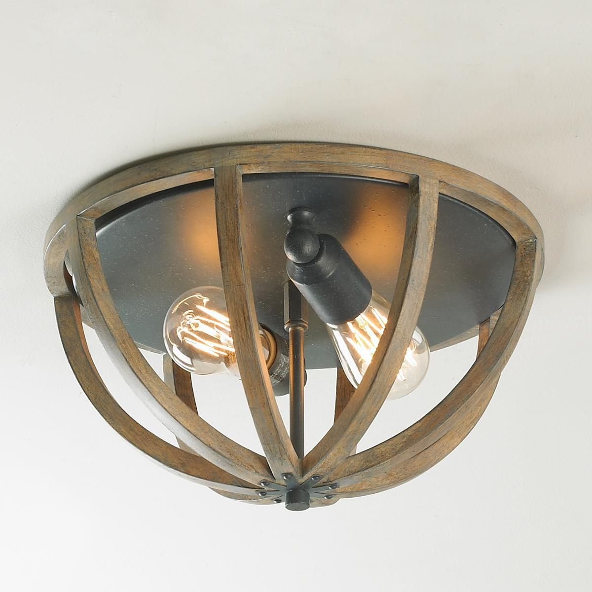 Weathered Oak Cage Ceiling Light - Shades of Light