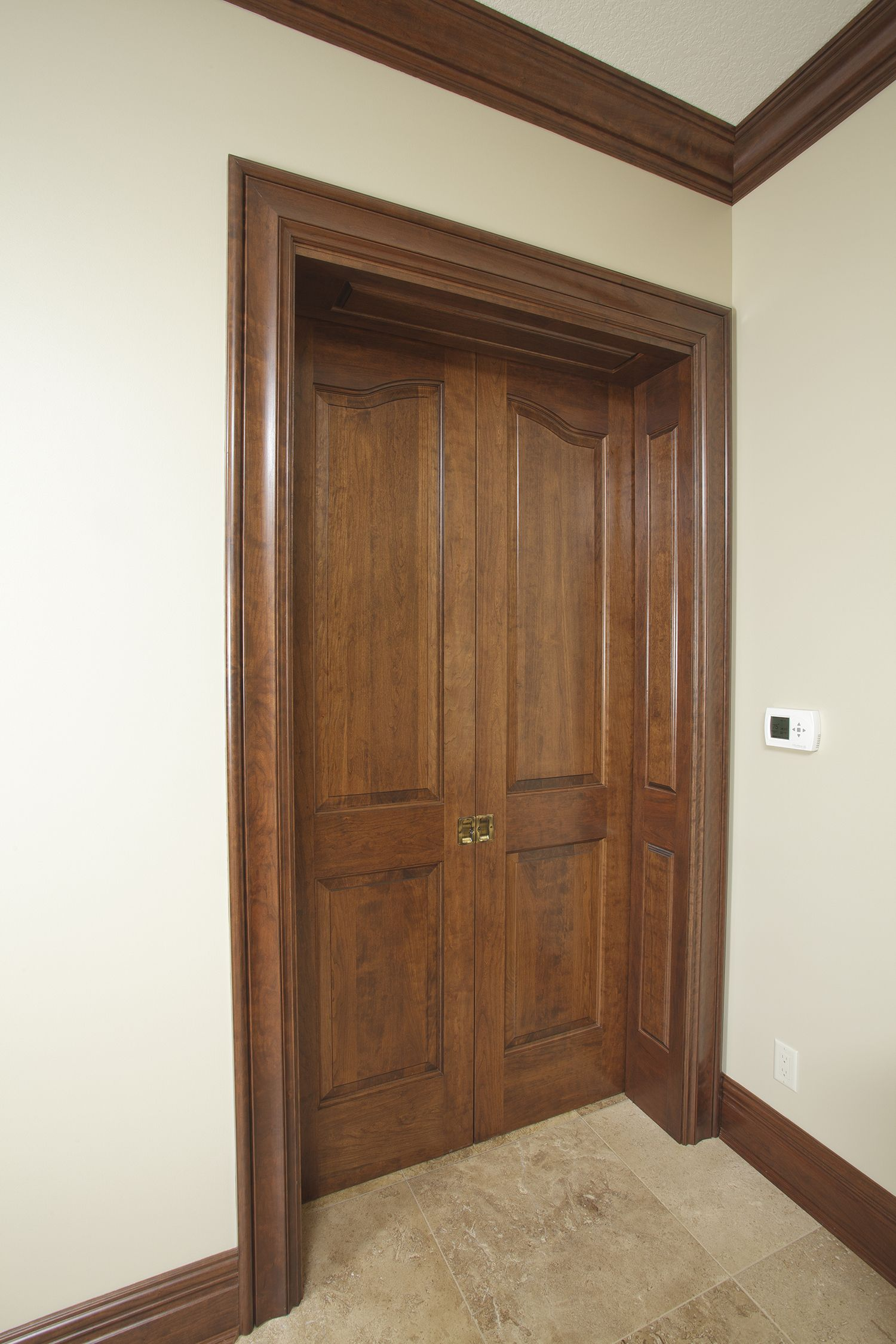 Solid Cherry 1 3 4 Thick X 8 Tall 2 Panel Provincial Double Pocket Doors With Custom Raised Panel Jamb Doors Interior Hardwood Doors Bedroom Doors