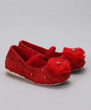 Take a look at this Fairy Dreams Red Sequin Flower Flat by Fairy Dreams on #zulily today!