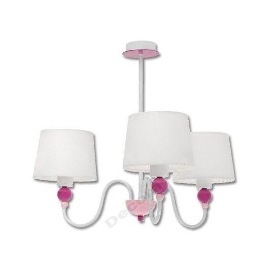 infantil blanca Lámpara tela 3 rosa con luces de tulipa ZOn0wkNP8X